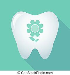 Long shadow tooth icon with a flower - Illustration of a...