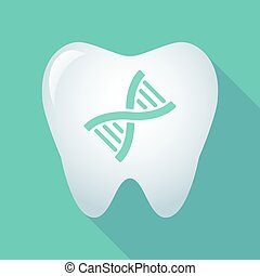 Long shadow tooth icon with a DNA sign