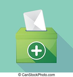 Long shadow coloured ballot box icon with a sum sign -...
