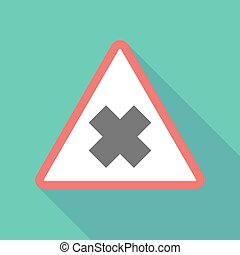 Long shadow triangular warning sign icon with an irritating...