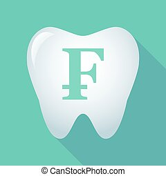 Long shadow tooth icon with a swiss franc sign -...
