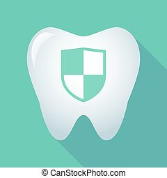 Long shadow tooth icon with a shield