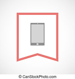 Isolated line art ribbon icon with a smart phone