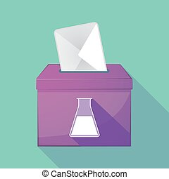 Long shadow coloured ballot box icon with a flask -...