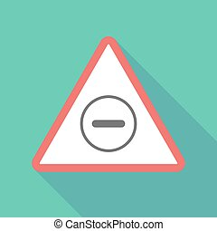 Long shadow triangular warning sign icon with a subtraction...