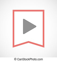 Isolated line art ribbon icon with a play sign