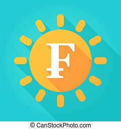Long shadow bright sun icon with a swiss franc sign -...