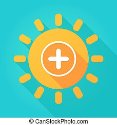 Long shadow bright sun icon with a sum sign - Illustration...