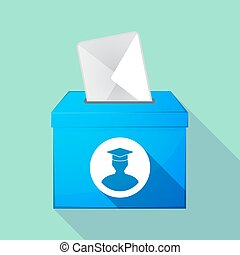 Long shadow coloured ballot box icon with a student -...