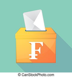 Long shadow coloured ballot box icon with a swiss franc sign...