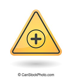 Isolated danger signal icon with a sum sign - Illustration...