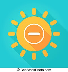 Long shadow bright sun icon with a subtraction sign -...