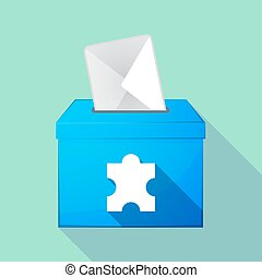 Long shadow coloured ballot box icon with a puzzle piece