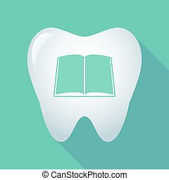 Long shadow tooth icon with a book