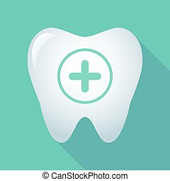 Long shadow tooth icon with a sum sign - Illustration of a...