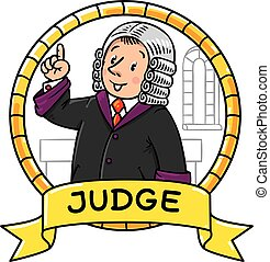 Funny judge understand thumbs up. Emblem - Emblem or...