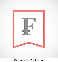 Isolated line art ribbon icon with a swiss franc sign -...