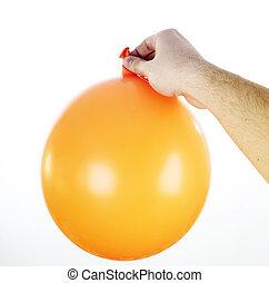 Big ballon - Ballon in a man\'s hand isolated.