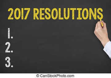 New Year 2017 Resolutions Concepts on Chalkboard