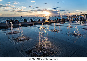 The sea front of Thessaloniki, Greece - Fountains at the sea...