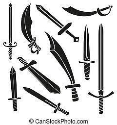 espadas, jogo, silueta, caricatura