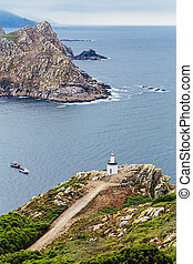 Lighthouse of the cies islands - Lighthouse white and blue...