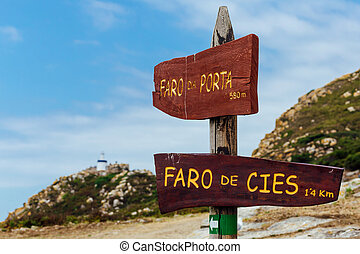 Lighthouse signs on the cies islands - Detail of a wooden...