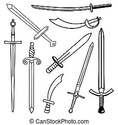 Set the Swords cartoon silhouette