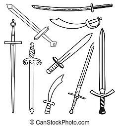 jogo, a, espadas, caricatura, silueta