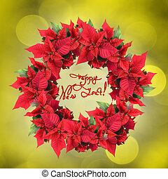 christmas wreath from poinsettia on yellow light background