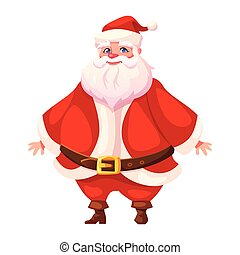 Colorful flat santa standing and smiling - Vector...