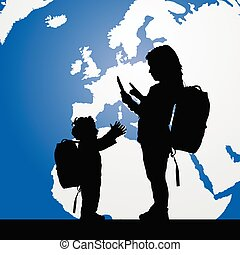 migration children silhouette with planet color illustration...