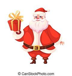 Funny flat santa holding christmas gift box - Vector...