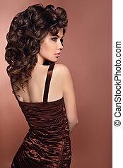 Beauty brunette portrait - Curly Hair. Beauty brunette...