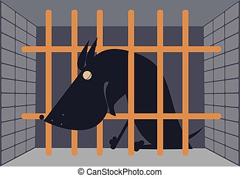 Sad dog in a cage - Crying dog seats behind bars