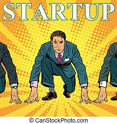 Startup retro businessman on the starting line with...