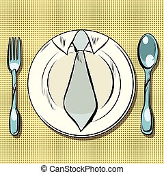 Business lunch, dish, fork and spoon, pop art retro vector....