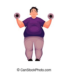 Fat man training with dumbbells, doing weightlifting...