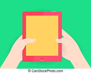 White hand holding modern red colored tablet