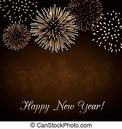 Happy New Year firework background - Happy New Year holiday...