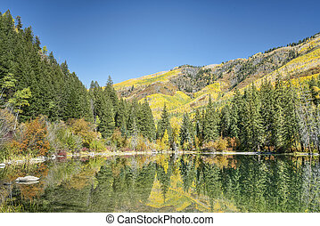 lake with fall colors reflections