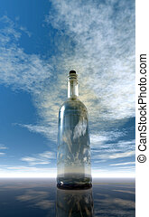 message in a bottle under cloudy sky  - 3d illustration