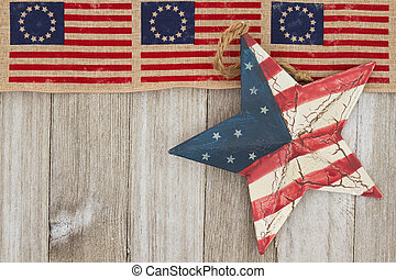 USA patriotic old flag and weathered wood background - USA...