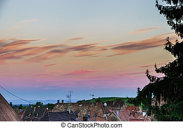 Colorful sunset over the little french village