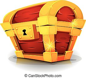 Cartoon Treasure Chest For Game Ui - Illustration of a...