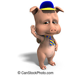 cute toon pig as a boy scout. 3D rendering with clipping path and shadow over white