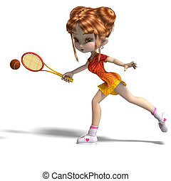 cartoon girl with racket plays tennis. 3D rendering with...