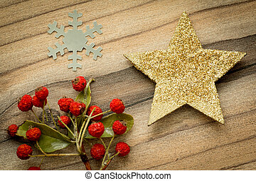 Christmas decorations on a rustic wooden board