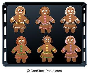 Gingerbread Women Baking Plate - Gingerbread women on baking...