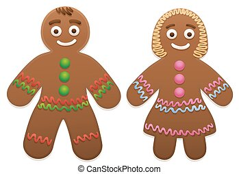Gingerbread Man Woman Love Couple - Gingerbread man and...